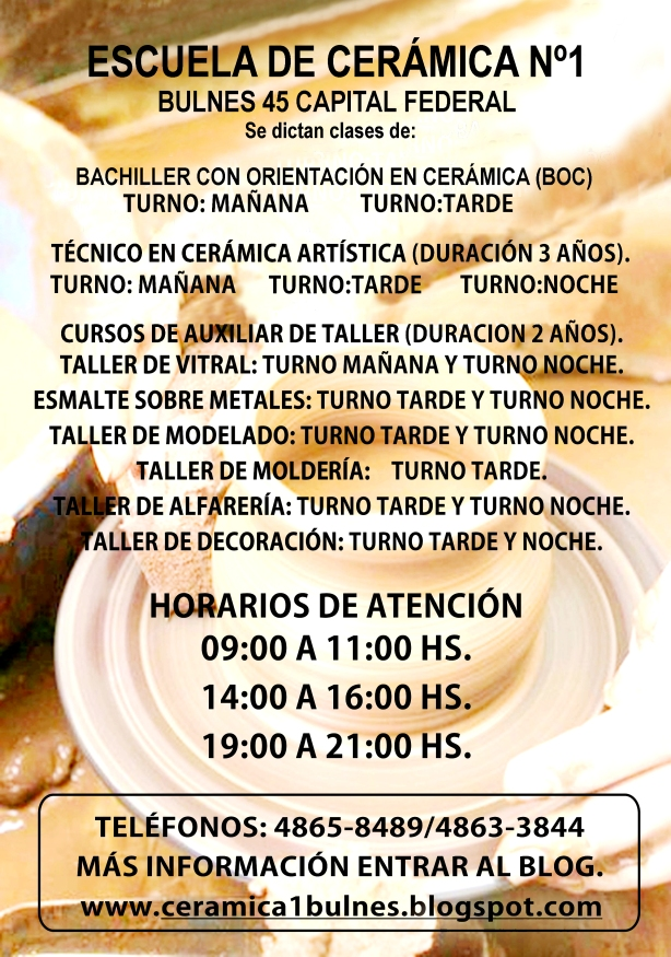 Afiche Escuela de Cer+ímica N-¦1 Noviembre
