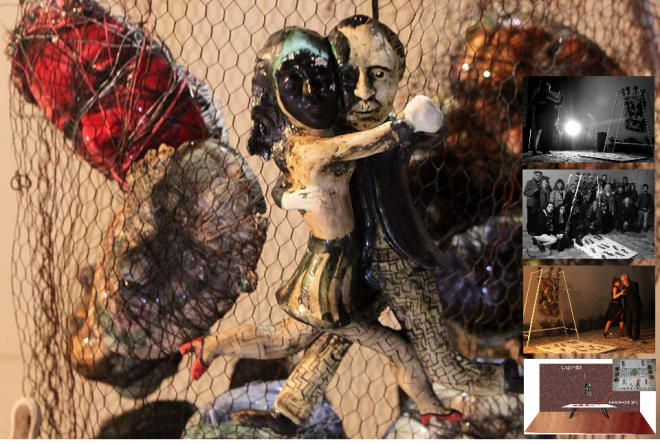 """""""Los pasos te llevan siempre hacia una salida."""" Carlota Petrolini Proyecto participativo. La escultura cerámica, el tango, los laberintos, la música, el baile; cuantas sensaciones mixturadas en esta nueva propuesta de la artista. Una invitación a cerrar los ojos e introducirse en pasos que nos llevan. La performance invita a participar para el día de inauguración y cierre de la muestra y, en cada presentación de la itinerancia, incorporando a la propuesta a un grupo de artistas bailarines locales. Colaboración y agradecimiento a los artistas danzantes en Casa Museo Borges: Marisa Ogando y Vicente Avalos. Buenos Aires, Argentina - 2015"""