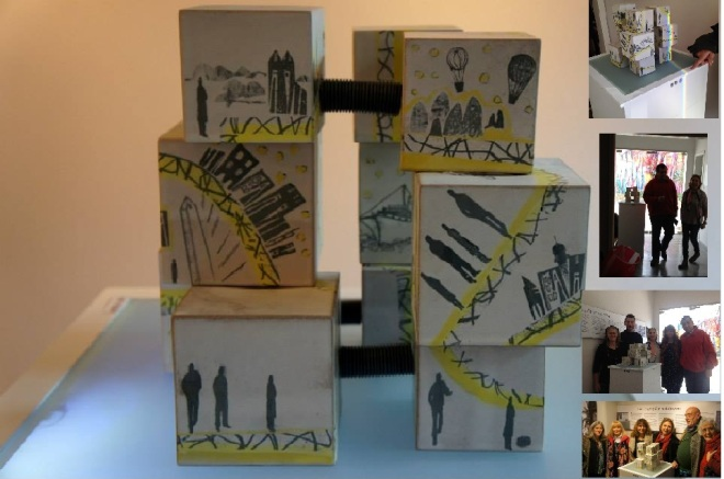 """""""Mis Labirintos"""" Marga Court Soporte tecnológico: Ing. Erio J. Schweickardt y Pedro Pinola Propuesta interactiva y multimedial: Se activa en la obra un paisaje sonoro, música de tres sitios referentes a la historia de la artista, iluminando, momentos que comparte de su mundo existencial. El espectador al acercarse a la obra es detectado por múltiples sensores (circuito en placa Arduino) que iluminan la base de sustentación al tiempo que se oye una selección de música, efectos sonoros y poemas de Borges. Buenos Aires, Argentina - 2015"""