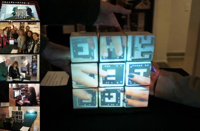 """""""Laberinto Borgeano RA"""" por Silvia Barrios Propuesta interactiva y multimedial. La imagen corporal escaneada en tiempo real que traspasa un otro cuerpo, el cerámico. Un actor-visitante que interactúa en tiempo real con un laberinto de RA;  el cruce entre la inteligencia humana, la inteligencia artificial, el cuerpo propio y los otros cuerpos. Piezas cerámicas, códigos que almacenan información, cámara lectora 360°, PC y un proyector;  una suerte de mixtura entre la realidad virtual y la imagen real, operan y se introducen con el mundo laberíntico de la poesía de Jorge Luis Borges. Presentación de los primeros avances para estudios de cerámica en vínculo con la ciencia y las variables de tecnologías aplicadas: """"Realidad Aumentada""""  Colaboración: Luis Pedraza (UNLP) y Emiliano Braña (UNA/ATAM). Buenos Aires, Argentina – 2015"""
